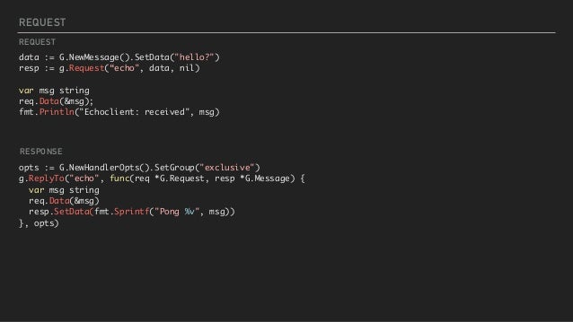 "REQUEST data := G.NewMessage().SetData(""hello?"") resp := g.Request(""echo"", data, nil) var msg string req.Data(&msg); fmt.P..."