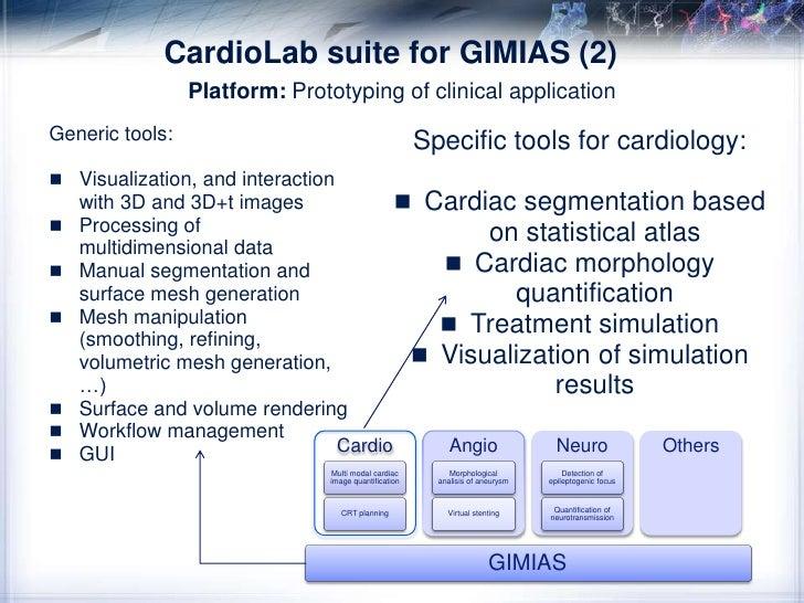 GIMIAS<br />AngioLab suite for GIMIAS (3)<br />Platform: Prototyping of clinical application<br />Generic tools:<br />Visu...