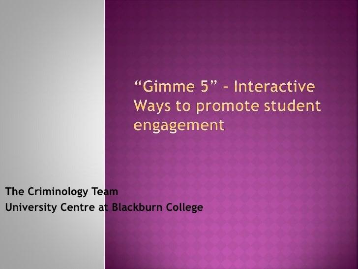 The Criminology TeamUniversity Centre at Blackburn College
