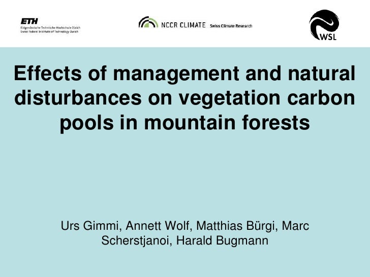 Effects of management and naturaldisturbances on vegetation carbon     pools in mountain forests    Urs Gimmi, Annett Wolf...