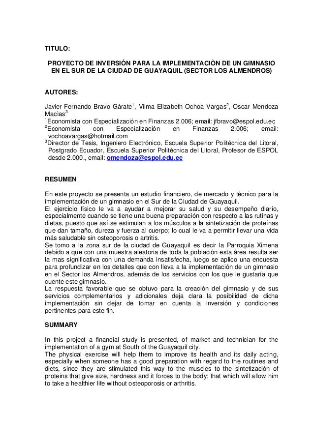 TITULO: PROYECTO DE INVERSIÒN PARA LA IMPLEMENTACIÒN DE UN GIMNASIO  EN EL SUR DE LA CIUDAD DE GUAYAQUIL (SECTOR LOS ALMEN...