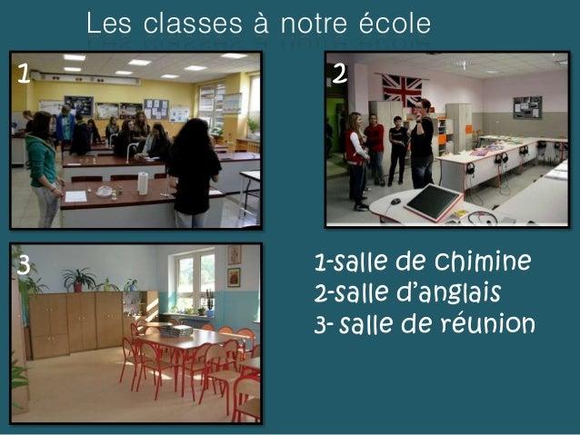 Les classes à notre école 1 2 3 1-salle de chimine 2-salle d'anglais 3- salle de réunion
