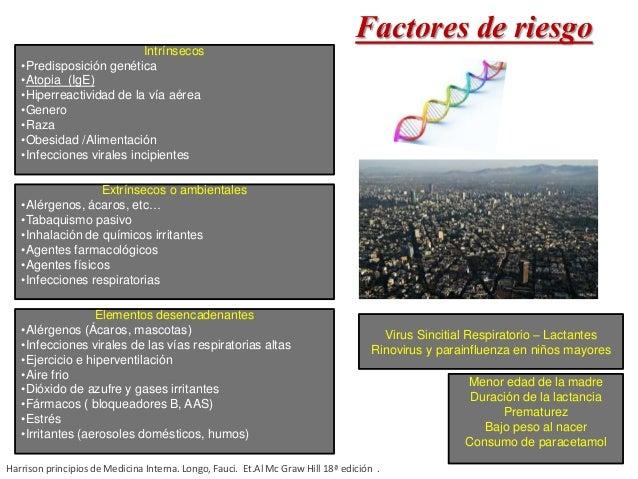 Factores de riesgoIntrínsecos •Predisposición genética •Atopia (IgE) •Hiperreactividad de la vía aérea •Genero •Raza •Obes...