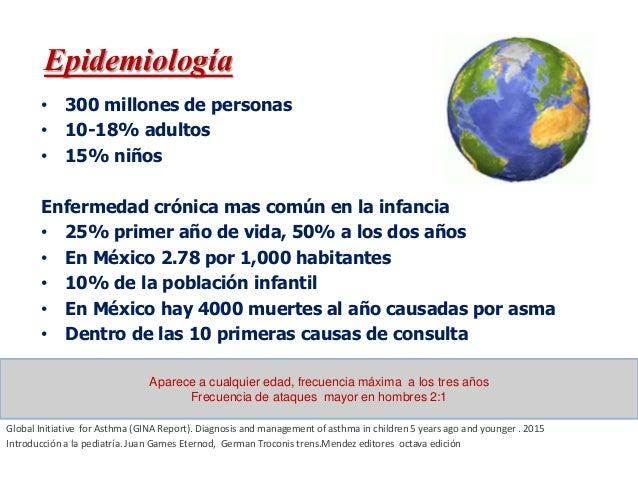 • 300 millones de personas • 10-18% adultos • 15% niños Enfermedad crónica mas común en la infancia • 25% primer año de vi...