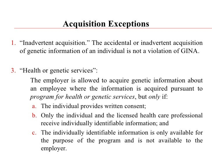 genetic information nondiscrimination act Genetic information nondiscrimination act (gina) of 2008 - a law that prohibits the improper use of genetic information in both health insurance underwriting and.