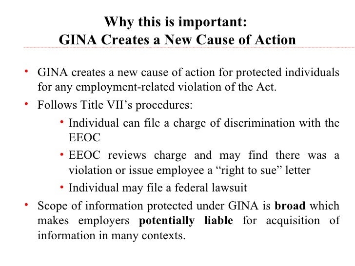 the genetic information nondiscrimination act essay Genetic information discrimination title ii of the genetic information nondiscrimination act of 2008 (gina), which prohibits genetic information discrimination in employment, took effect on november 21, 2009.