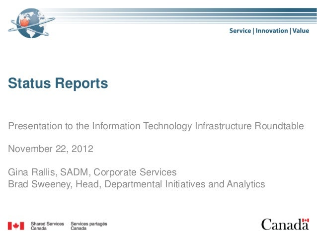 Status ReportsPresentation to the Information Technology Infrastructure RoundtableNovember 22, 2012Gina Rallis, SADM, Corp...