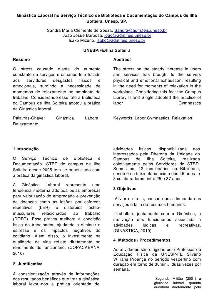 Ginástica Laboral no Serviço Técnico de Biblioteca e Documentação do Campus de Ilha Solteira, Unesp, SP.