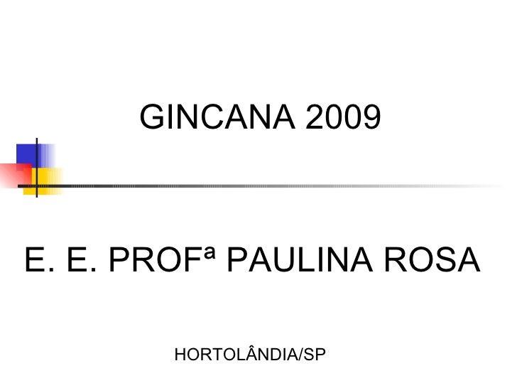 GINCANA 2009 HORTOLÂNDIA/SP E. E. PROFª PAULINA ROSA