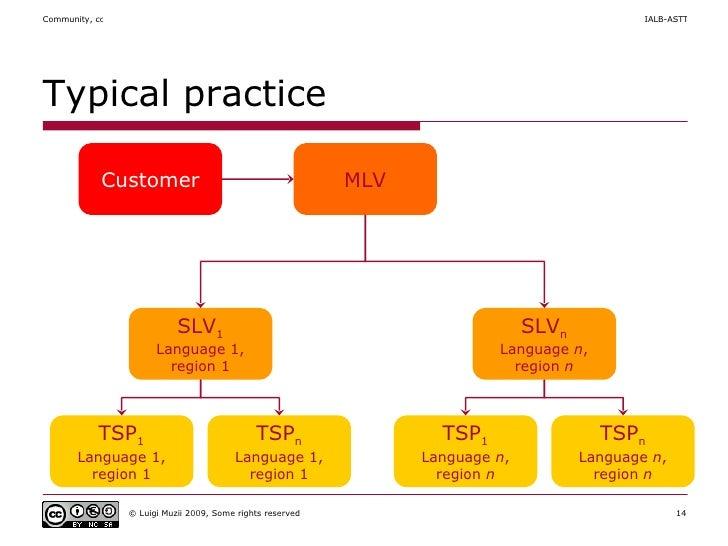 Typical practice Customer MLV SLV 1 Language 1, region 1 TSP n Language  n , region  n SLV n Language  n , region  n TSP 1...