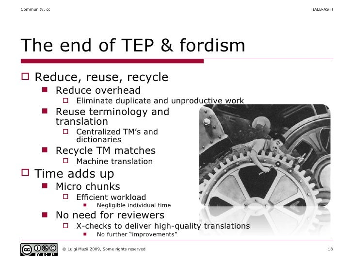 The end of TEP & fordism <ul><li>Reduce, reuse, recycle </li></ul><ul><ul><li>Reduce overhead </li></ul></ul><ul><ul><ul><...