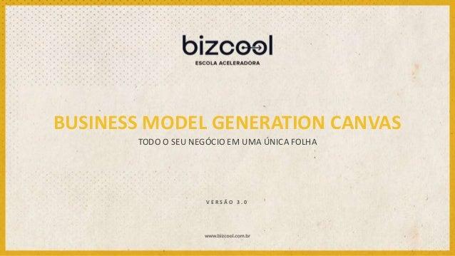 BUSINESS MODEL GENERATION CANVAS TODO O SEU NEGÓCIO EM UMA ÚNICA FOLHA V E R S Ã O 3 . 0