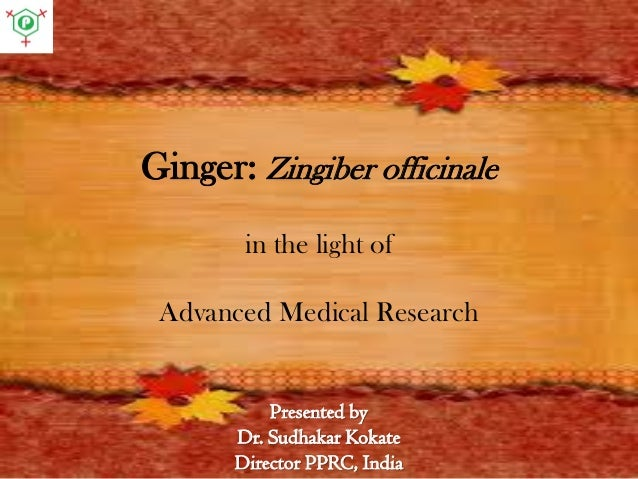 Presented by Dr. Sudhakar Kokate Director PPRC, India Ginger: Zingiber officinale in the light of Advanced Medical Research
