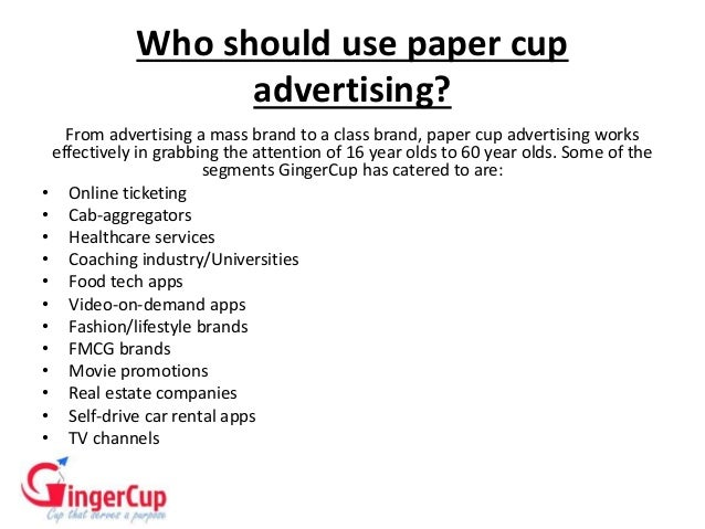 PAPER CUP ADVERTISING- Gingercup