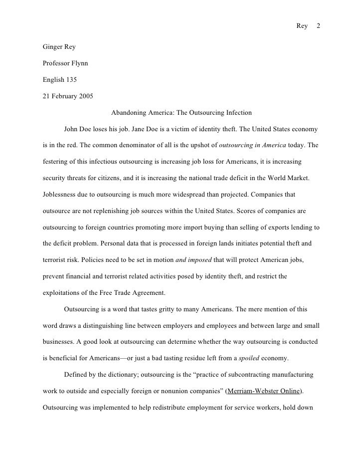 Outsourcing essay conclusion