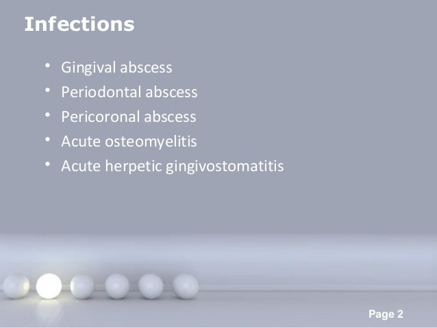 Powerpoint Templates Page 2 Infections • Gingival abscess • Periodontal abscess • Pericoronal abscess • Acute osteomyeliti...