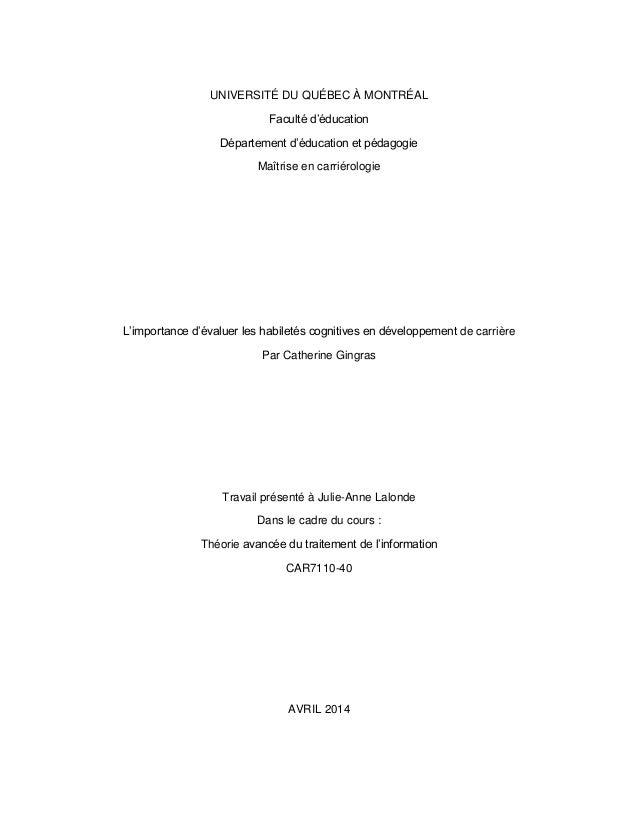 UNIVERSITÉ DU QUÉBEC À MONTRÉAL Faculté d'éducation Département d'éducation et pédagogie Maîtrise en carriérologie L'impor...
