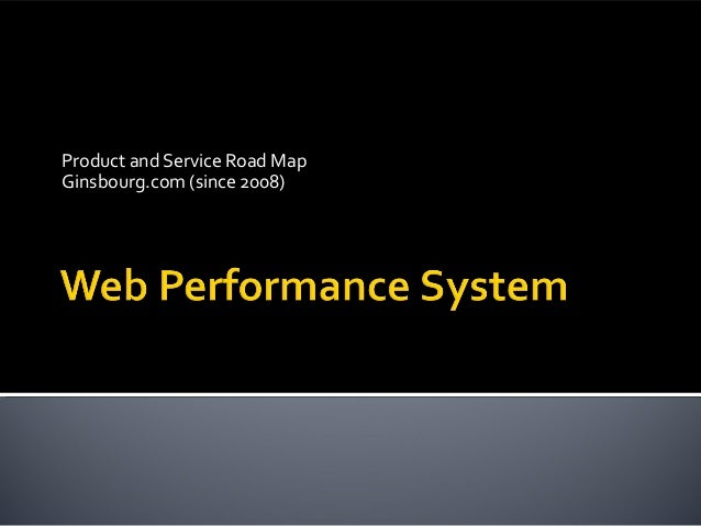Product and Service Road Map Ginsbourg.com (since 2008)