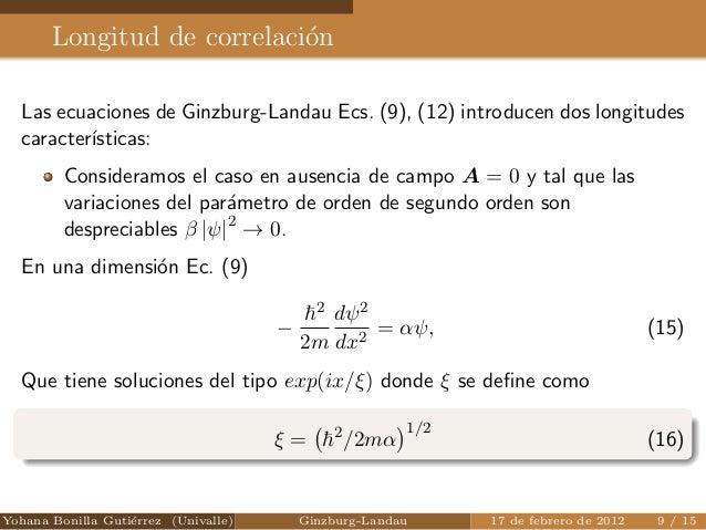 Ecuaciones de Ginzburg Landau