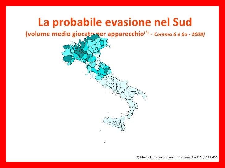 La probabile evasione nel Sud (volume medio giocato per apparecchio (*)  -  Comma 6 e 6a - 2008)  (*) Media Italia per ap...