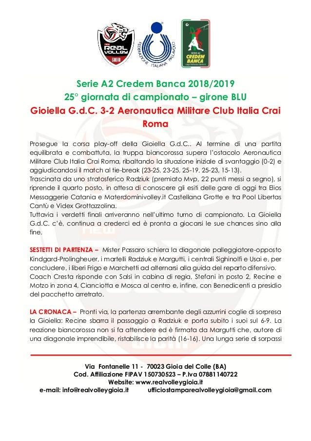 Gioiella g.d.c. vs aeronautica militare club italia crai roma