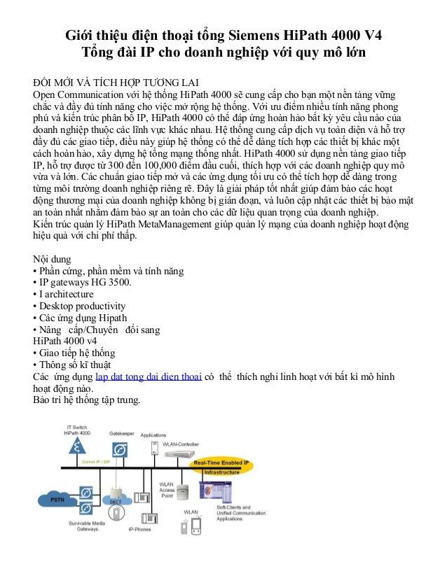 Giới thiệu điện thoại tổng Siemens HiPath 4000 V4         Tổng đài IP cho doanh nghiệp với quy mô lớnĐỔI MỚI VÀ TÍCH HỢP T...