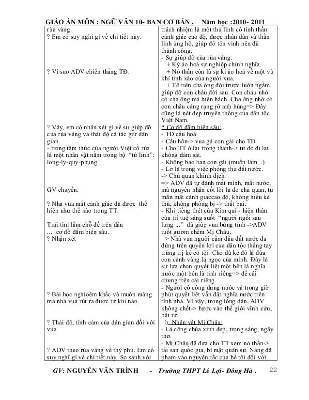 GIÁO ÁN MÔN : NGỮ VĂN 10- BAN CƠ BẢN ,                   Năm học :2010- 2011rùa vàng.                                  trá...