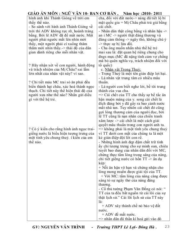GIÁO ÁN MÔN : NGỮ VĂN 10- BAN CƠ BẢN ,                   Năm học :2010- 2011hình ảnh khi Thánh Gióng về trời em        cha...