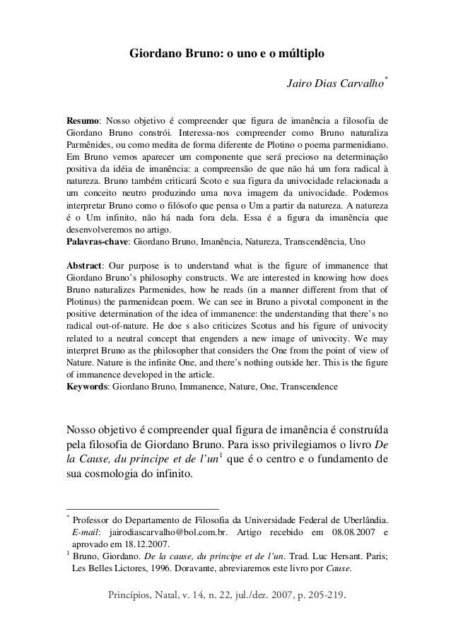 Princípios, Natal, v. 14, n. 22, jul./dez. 2007, p. 205-219. Giordano Bruno: o uno e o múltiplo Jairo Dias Carvalho* Resum...
