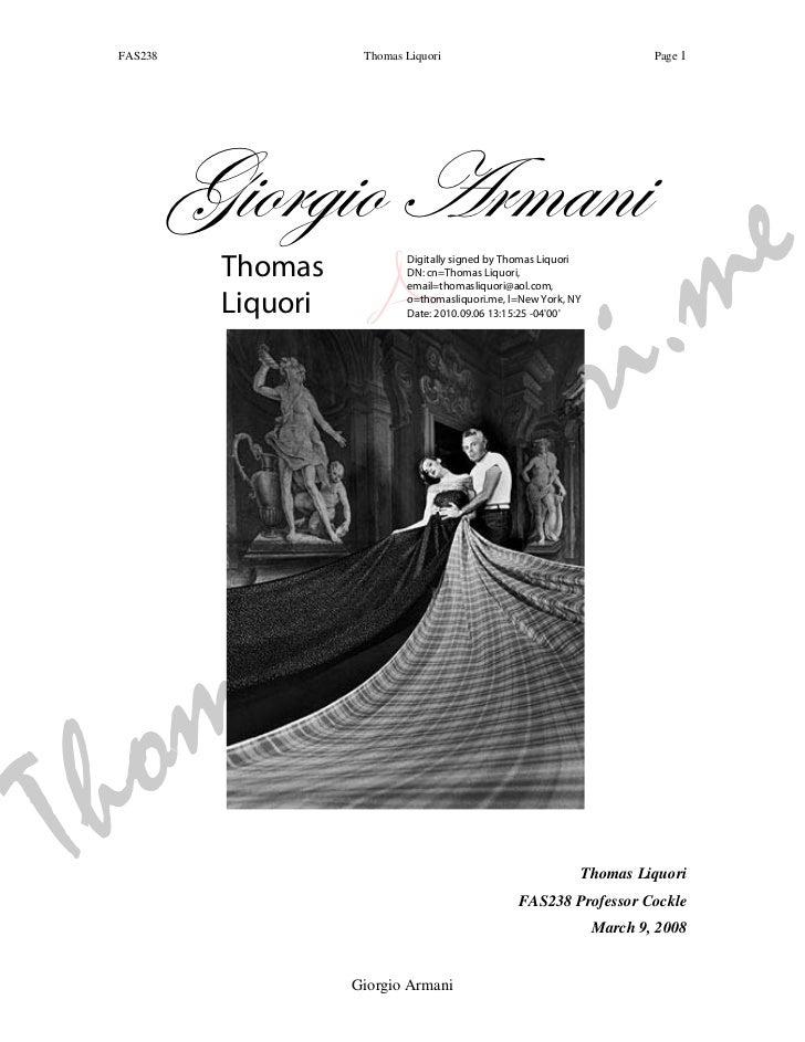 FAS238               Thomas Liquori                                       Page 1          Giorgio Armani                  ...