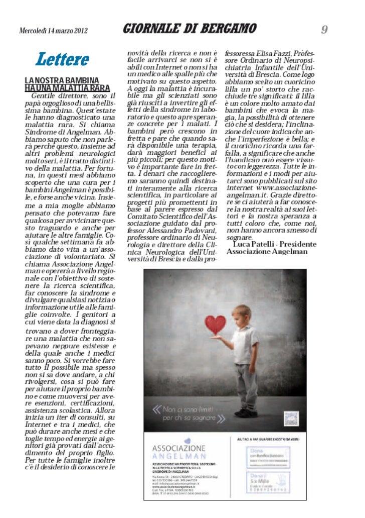 Associazione Angelman: lettera al Giornale di Bergamo