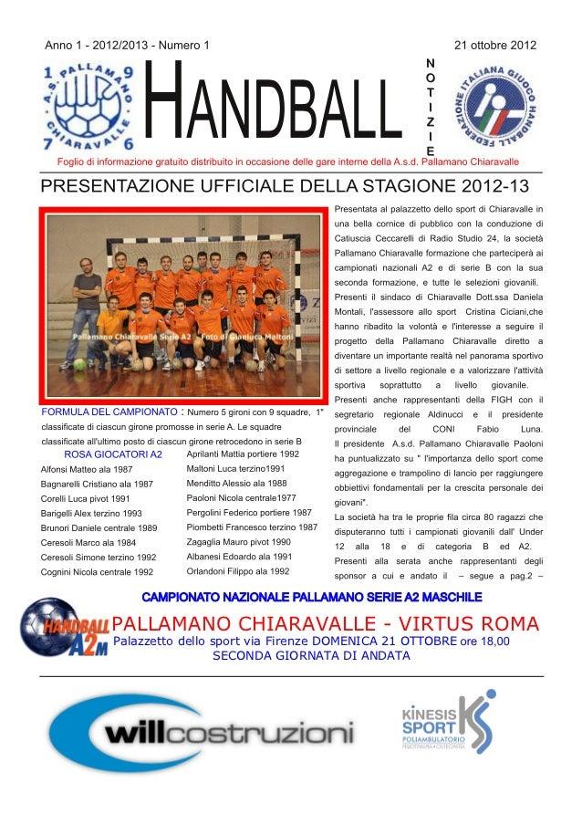 PALLAMANO CHIARAVALLE  VIRTUS ROMAPalazzetto dello sport via Firenze DOMENICA 21 OTTOBRE                  SECONDA GIORNAT...
