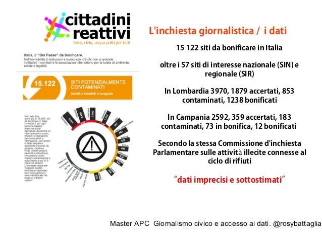Master APC Giornalismo civico e accesso ai dati. @rosybattaglia Oltre i 57 Siti di Interesse Nazionale ci sono oltre 15 mi...