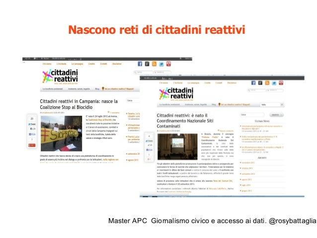 Master APC Giornalismo civico e accesso ai dati. @rosybattaglia Nascono reti di amministratori reattivi