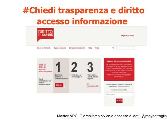 Master APC Giornalismo civico e accesso ai dati. @rosybattaglia Ma attenzione! In Italia esiste la legge 195/2005 che rece...