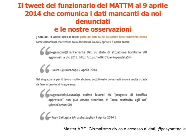 Master APC Giornalismo civico e accesso ai dati. @rosybattaglia Su Wired: accesso civico e inchieste http://www.wired.it/a...