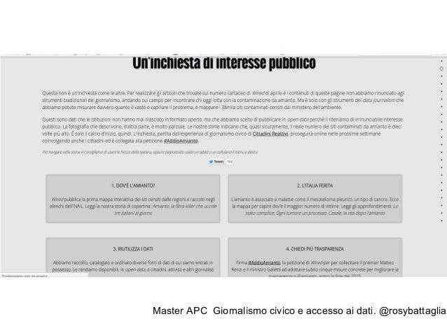 """Master APC Giornalismo civico e accesso ai dati. @rosybattaglia """"L'informazione è la prima forma di prevenzione"""" Pietro Co..."""