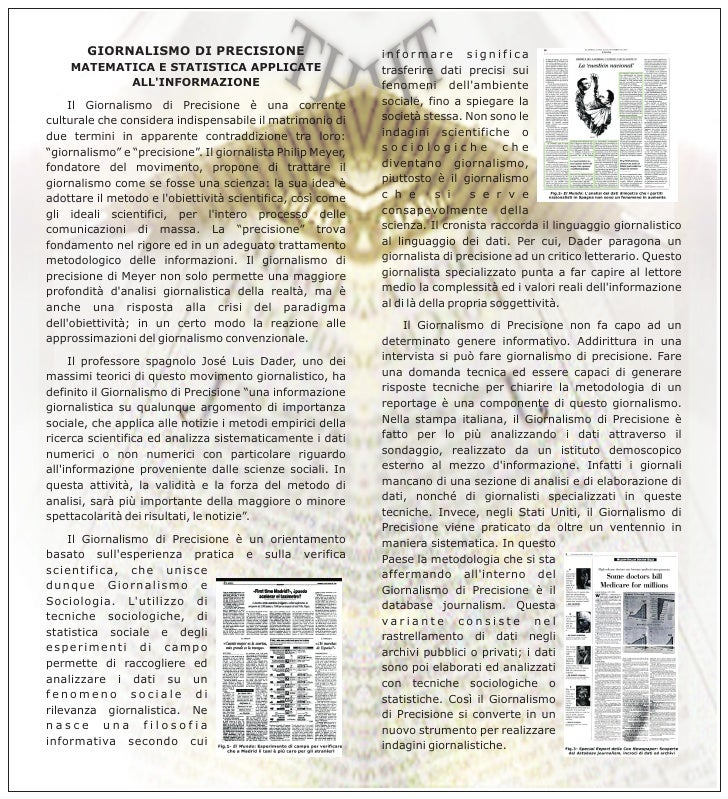 GIORNALISMO DI PRECISIONE                             informare significa     MATEMATICA E STATISTICA APPLICATE           ...