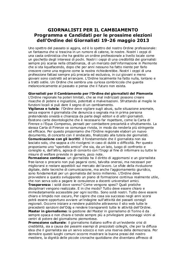GIORNALISTI PER IL CAMBIAMENTOProgramma e Candidati per le prossime elezionidellOrdine dei Giornalisti 19-26 maggio 2013Un...