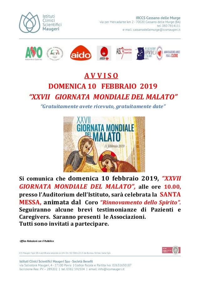 """A V V I S O DOMENICA 10 FEBBRAIO 2019 """"XXVII GIORNATA MONDIALE DEL MALATO"""" """"Gratuitamente avete ricevuto, gratuitamente da..."""