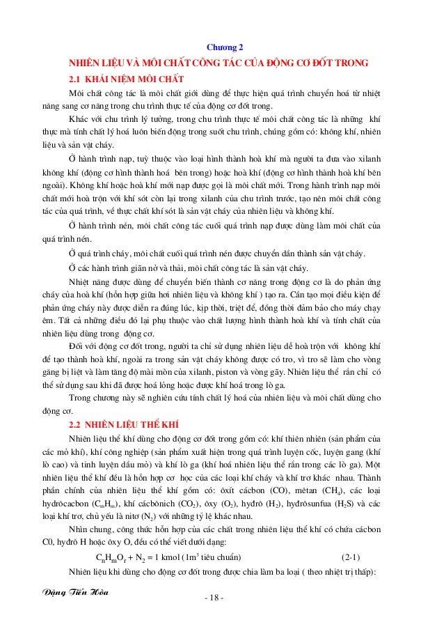 §Æng TiÕn Hßa - 18 - Ch−¬ng 2 Nhiªn liÖu vμ m«i chÊt c«ng t¸c cña ®éng c¬ ®èt trong 2.1 Kh¸i niÖm m«i chÊt M«i chÊt c«ng t...