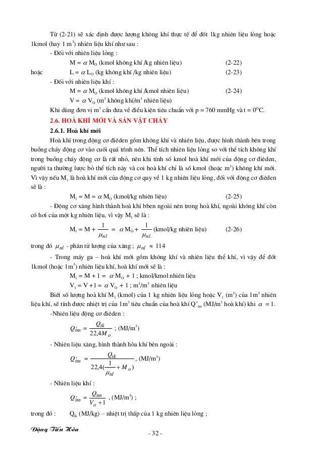§Æng TiÕn Hßa - 32 - Tõ (2-21) sÏ x¸c ®Þnh ®−îc l−îng kh«ng khÝ thùc tÕ ®Ó ®èt 1kg nhiªn liÖu láng hoÆc 1kmol (hay 1 m3 ) ...