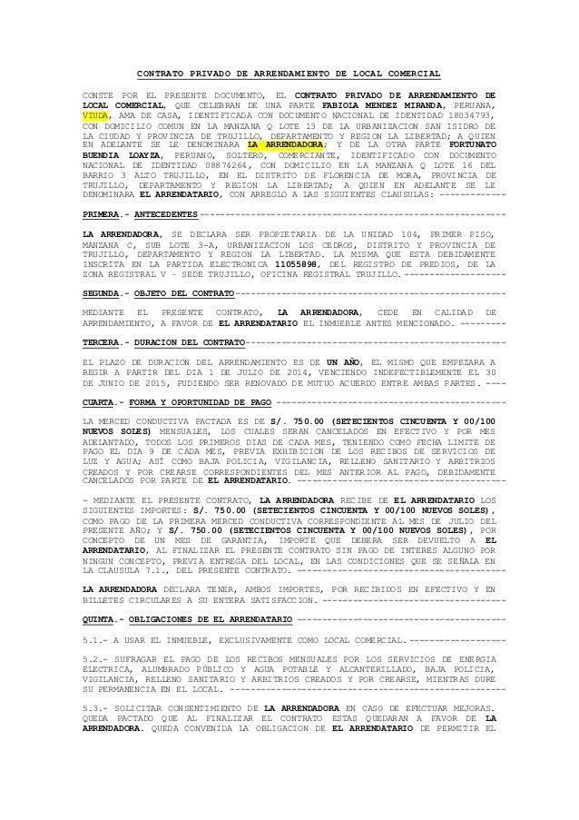 Modelo de contrato de alquiler de local comercial for Contrato de arrendamiento de oficina