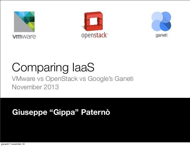 "ganeti  Comparing IaaS VMware vs OpenStack vs Google's Ganeti November 2013  Giuseppe ""Gippa"" Paternò  giovedì 7 novembre ..."