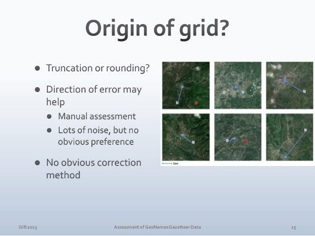 GIR 2013  Assessment of GeoNames Gazetteer Data  16