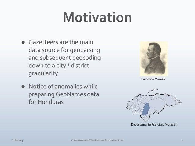 GIR 2013  Assessment of GeoNames Gazetteer Data  3