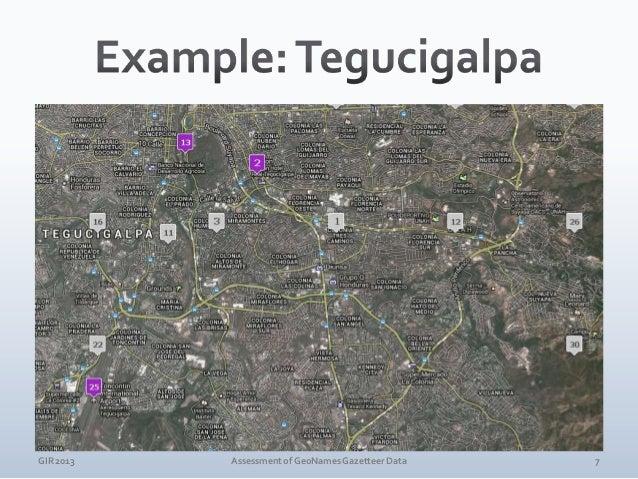 GIR 2013  Assessment of GeoNames Gazetteer Data  8