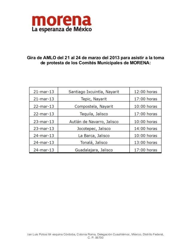 Gira de AMLO del 21 al 24 de marzo del 2013 para asistir a la toma      ...