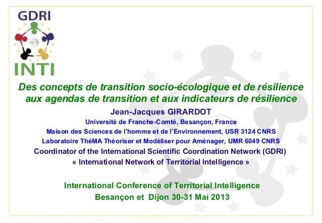 Des concepts de transition socio-écologique et de résilienceaux agendas de transition et aux indicateurs de résilienceJean...