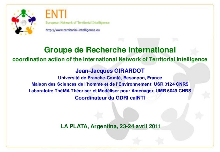 Groupe de Recherche International  <br />coordination action of the International Network of Territorial Intelligence<br /...